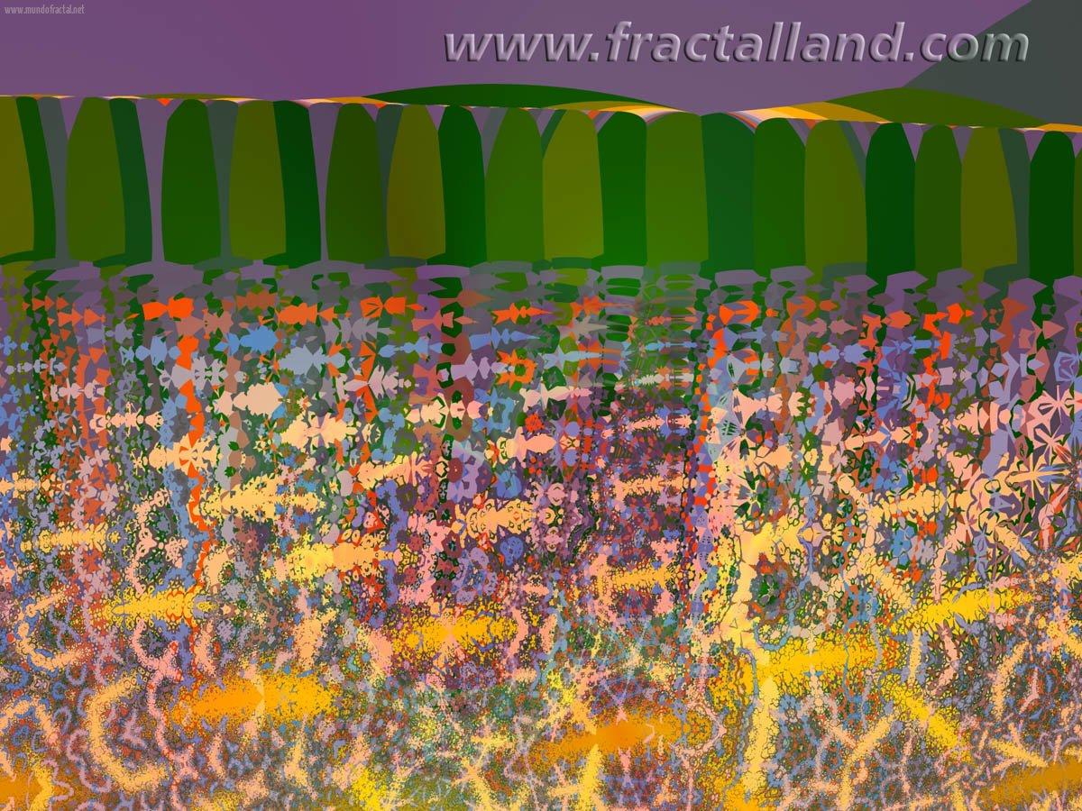Purple sky and pine trees